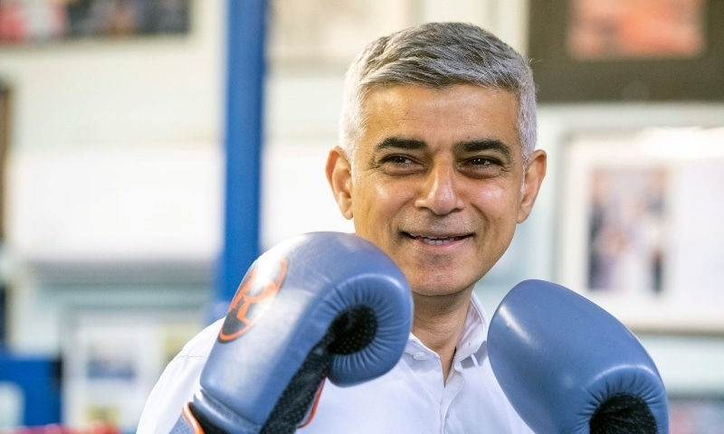 Mayor of London Sadiq Khan during a visit to Earlsfield Amateur Boxing Club in London on May 4. — AP