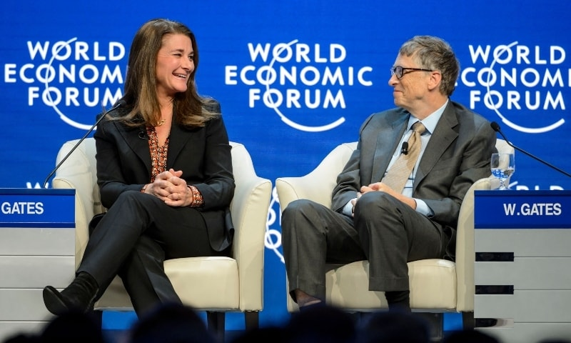 In this file photo taken on January 23, 2015 Melinda and Bill Gates attend a session at the Congress Center during the World Economic Forum meeting in Davos. — AFP