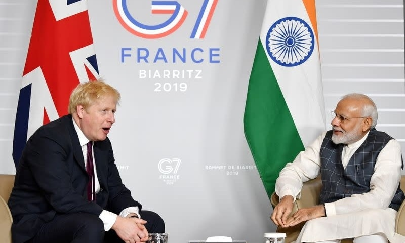 Britain's Prime Minister Boris Johnson meets Indian Prime Minister Narendra Modi at a bilateral meeting during the G7 summit in Biarritz, France August 25, 2019. — Reuters