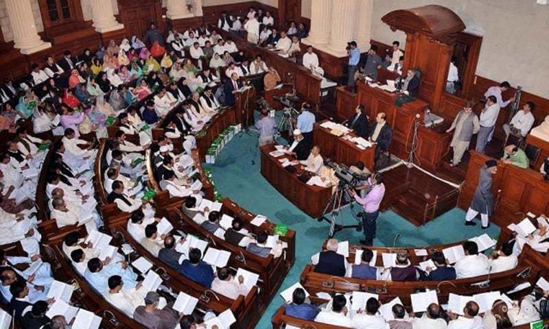 Amid cries of foul and boycott by the opposition, Law Minister Raja Basharat put before the house 11 ordinances and two new bills. — APP/File