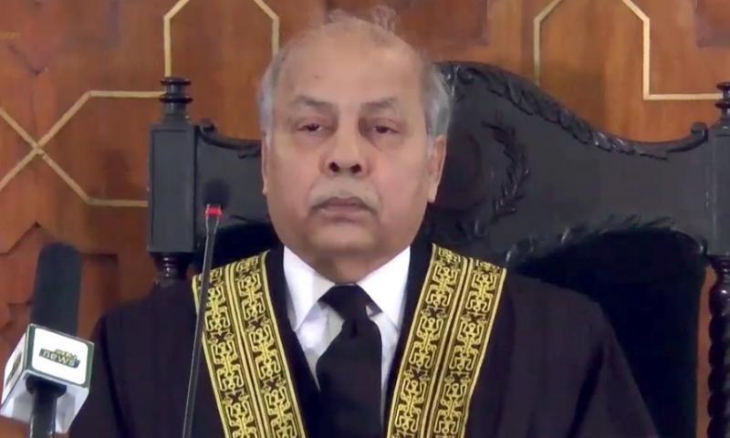 A three-member bench headed by Chief Justice Gulzar Ahmed heard the suo motu case on Wednesday. — DawnNewsTV