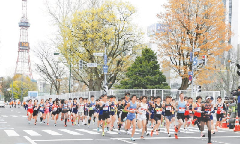 SAPPORO: Runners start at the Sapporo challenge half-marathon held as a Tokyo 2020 Olympics test event on Wednesday.—AP