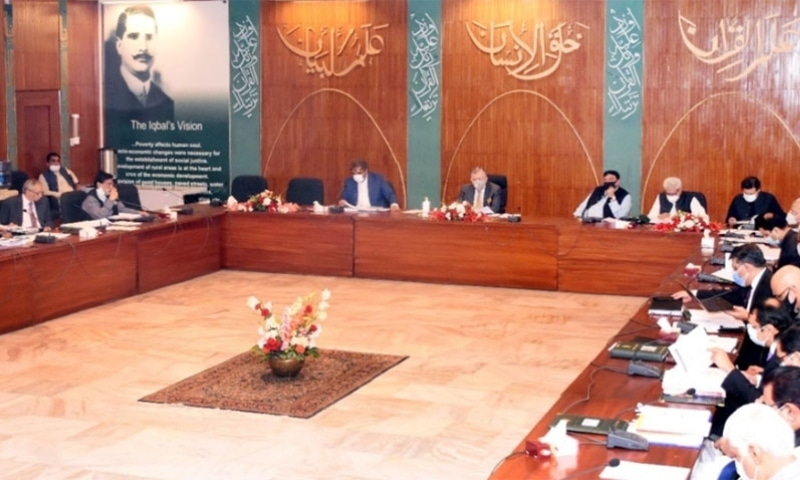 Minister for Finance and Revenue Shaukat Tarin presided over the ECC meeting. — Photo courtesy Radio Pakistan