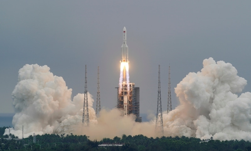 The Long March-5B Y2 rocket, carrying the core module of China's space station Tianhe, takes off from Wenchang Space Launch Center in Hainan province on April 29. — Reuters
