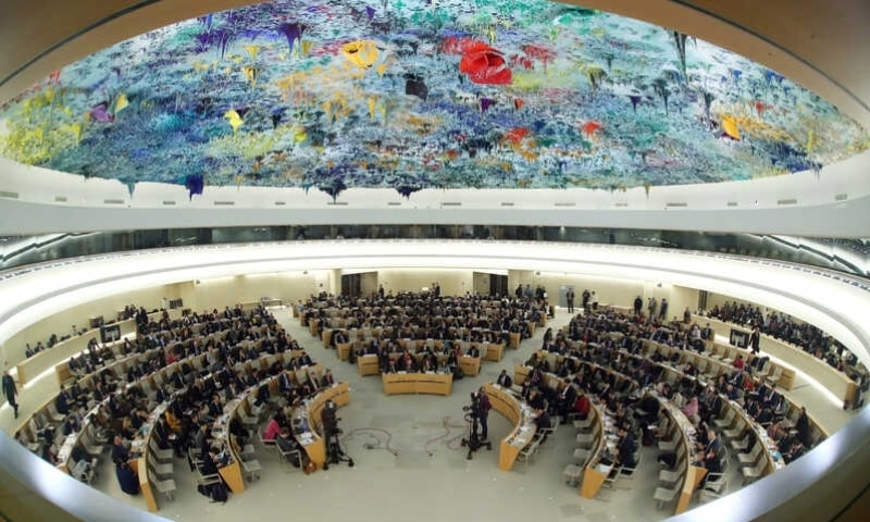 Overview of the session of the Human Rights Council during the speech of UN High Commissioner for Human Rights Michelle Bachelet at the United Nations in Geneva on Feb 27, 2020. — Reuters