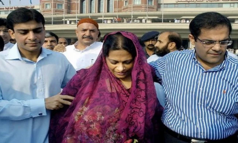 This file photo shows Shehbaz Sharif's wife Nusrat Shehbaz being accompanied by Hamza and Salman Shehbaz. — AFP/File