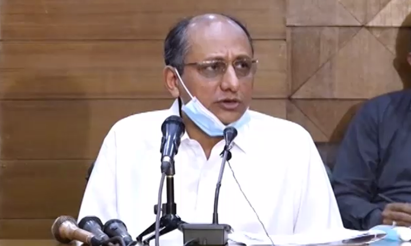 In this file photo, Sindh Education Minister Saeed Ghani addresses the media. — DawnNewsTV/File