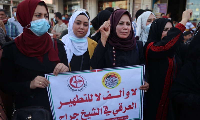 Supporters of the Popular Front for the Liberation of Palestine (PFLP) protest in Jabaliya in the northern Gaza Strip on Wednesday against an Israeli court's decision to evict several Palestinian families in the Sheikh Jarrah neighbourhood of occupied east Jerusalem. — AFP