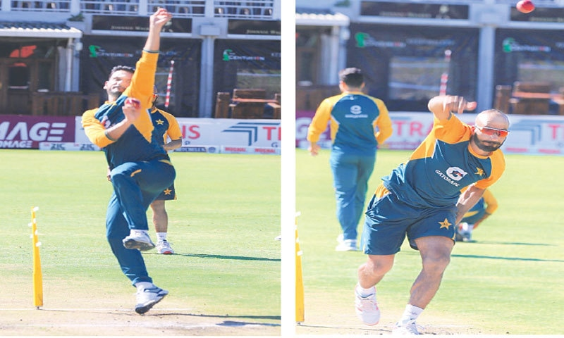 HARARE: Uncapped fast bowler Tabish Khan (L) and off-spinner Sajid Khan bowling during Pakistan's training session at the Harare Sports Club on Thursday.—Courtesy PCB