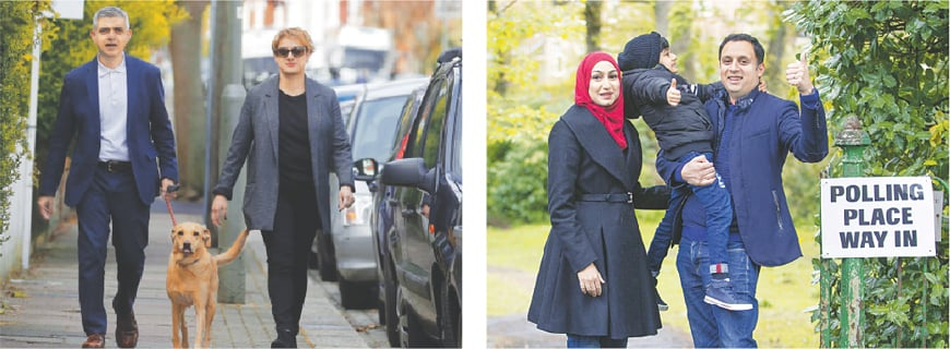 MAYOR of London Sadiq Khan and his wife Saadiya arrive at the St Albans Church in London to vote on Thursday; and (right) Scottish Labour party's leader Anas Sarwar, his wife Furheen and son Ailyan pose for photographers at the Pollokshields Burgh Hall in Glasgow.—AP