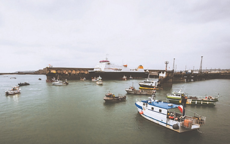 FRENCH fishing vessels block the port of St Helier in Jersey on Thursday.—AP