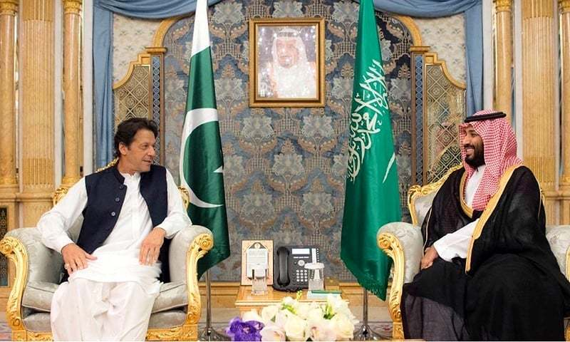 This file photo shows Prime Minister Imran Khan (left) with Saudi Crown Prince Mohammad bin Salman.—APP/File
