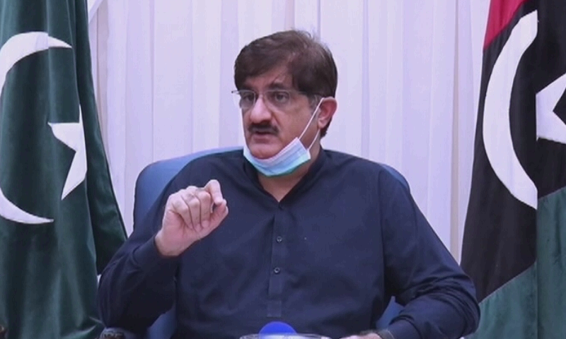 In this file photo, Sindh Chief Minister Syed Murad Ali Shah speaks during a press conference. — DawnNewsTV/File