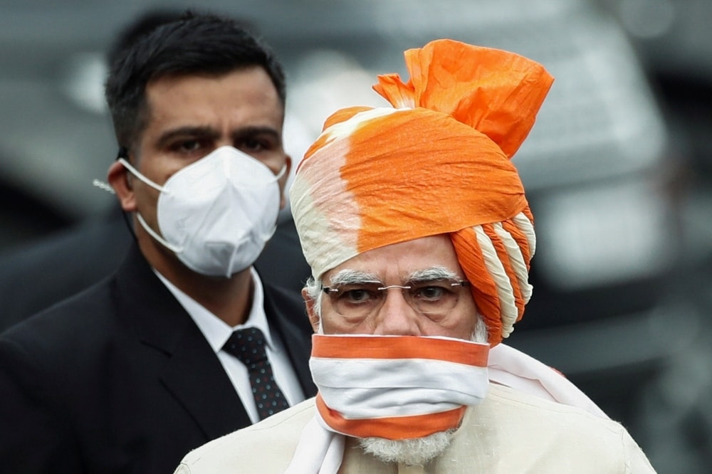 In this file photo, Indian PM Narendra Modi arrives to attend the Independence Day celebrations at the historic Red Fort in Delhi on August 15, 2020. —  Reuters