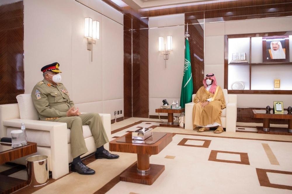 COAS General Qamar Javed Bajwa called on Saudi Crown Prince Mohammed bin Salman in Jeddah. — Photo courtesy ISPR