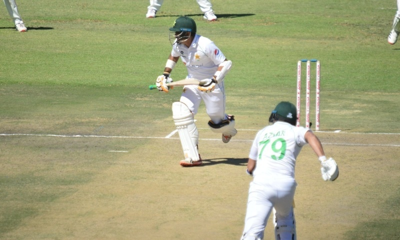 Azhar Ali and Abid Ali make a run during Friday's day one of the second Test against Zimbabwe. — Photo: PCB Twitter