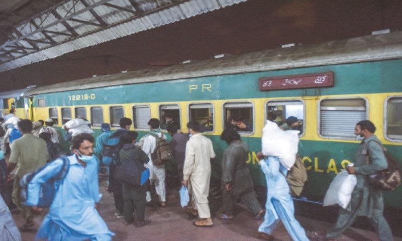 THE first Eid train sets off from Karachi on Friday.—Fahim Siddiqi / White Star