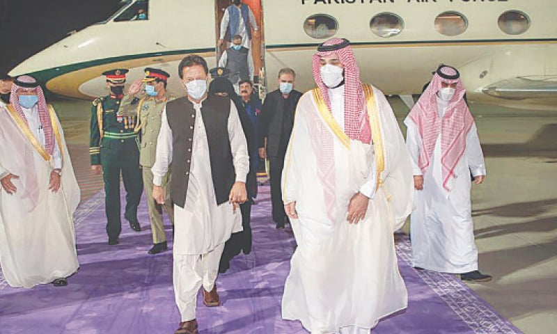JEDDAH: Prime Minister Imran Khan being welcomed by Saudi Crown Prince and Defence Minister Mohammad bin Salman at the airport on Friday.— AP