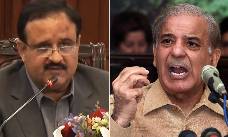 This file photo shows Punjab Chief Minister Usman Buzdar (L) and PML-N President Shehbaz Sharif (R). — DawnNewsTV/File