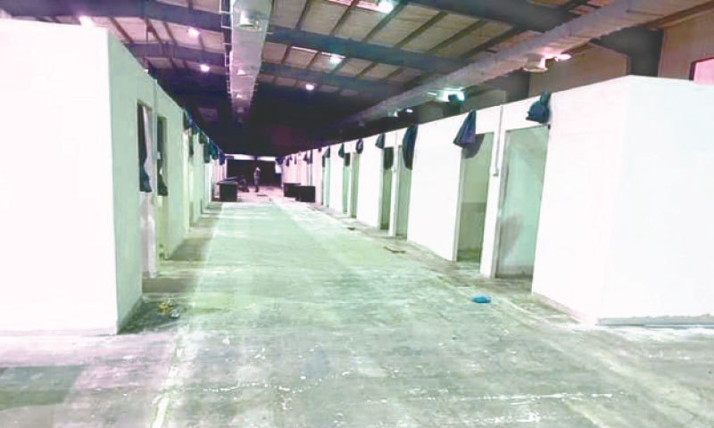 Cubicles being readied for operation at the Expo Centre on Saturday. — PPI