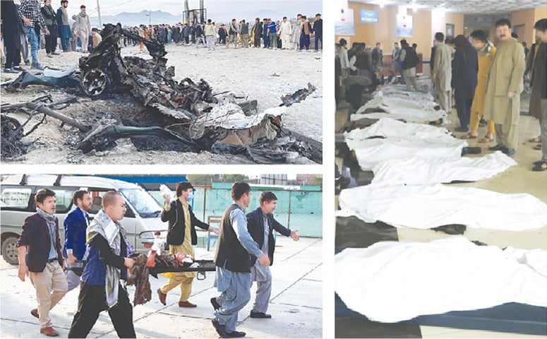 (Clockwise): People stand at the site of a bomb blast near a school at Kabul on Saturday. Afghan men try to identify the dead bodies at a hospital after the terrorist attack. An injured girl is being brought on a stretcher to a hospital.—Reuters / AP / AFP