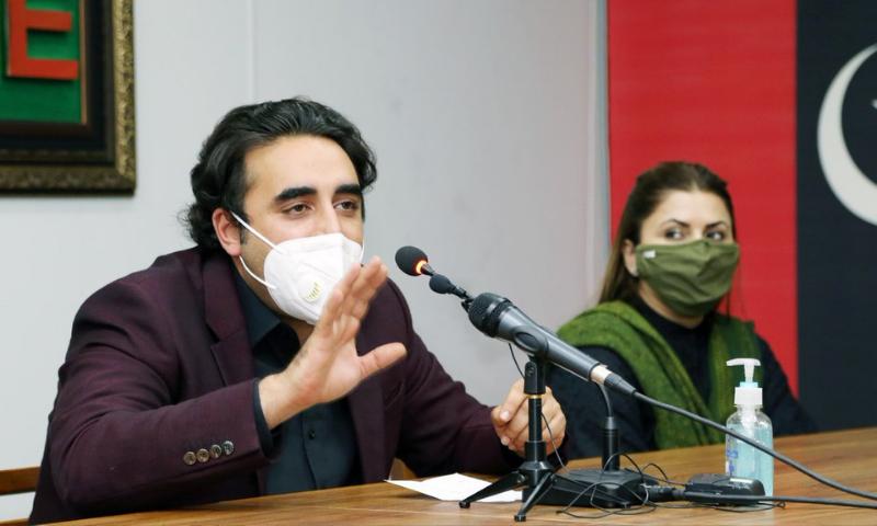 In this Jan file photo, PPP Chairperson Bilawal Bhutto-Zardari addresses a press conference at Bilawal House in Karachi. — Photo courtesy PPP Media Cell Twitter