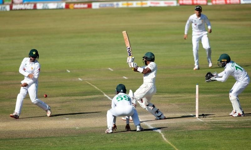 Zimbabwe batsman Regis Chakabva plays a shot during the second Test match against Pakistan at Harare Sports Club, Sunday, May, 9. — AP