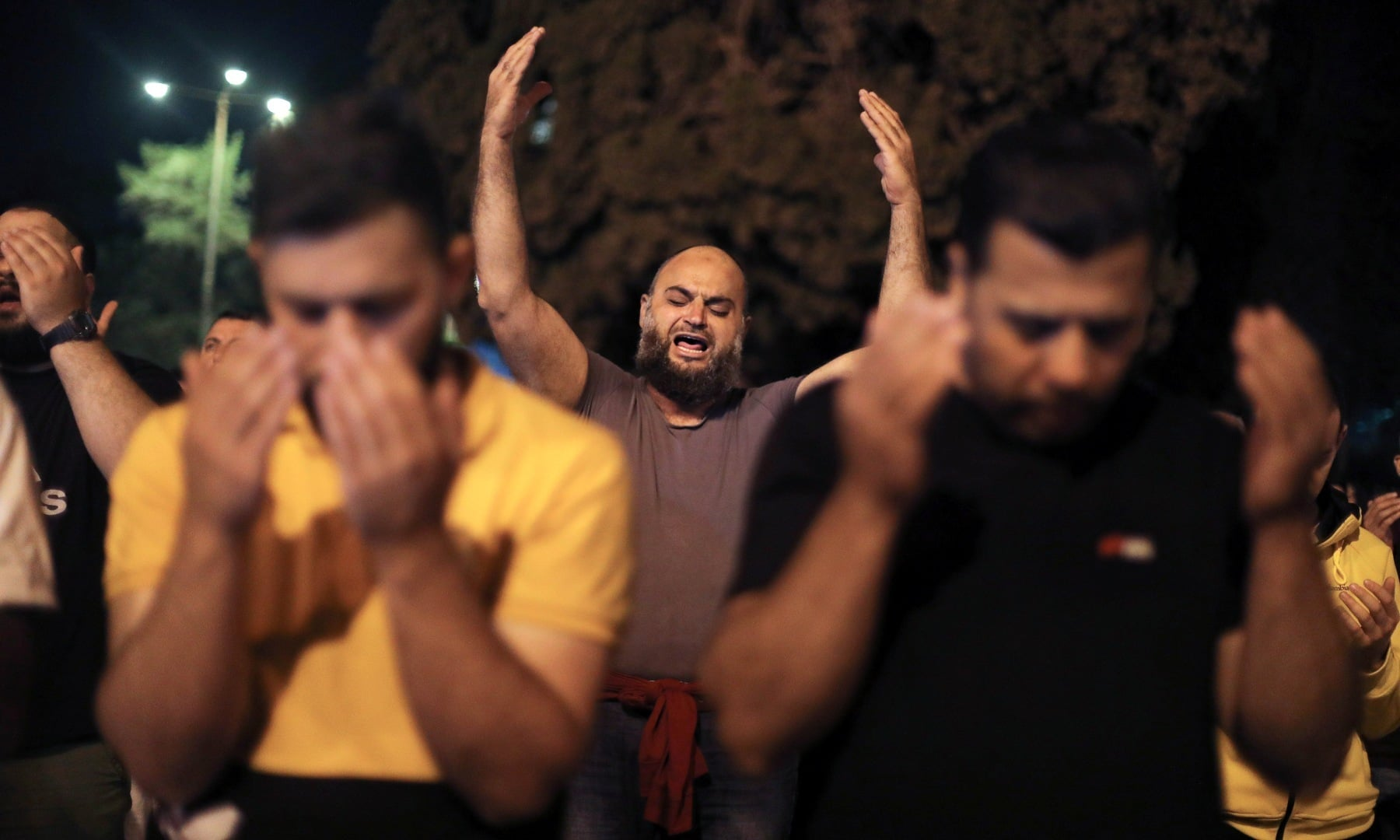 Palestinians pray on Laylat al-Qadr during the holy month of Ramazan, at the compound that houses Al-Aqsa mosque, known to Muslims as Noble Sanctuary and to Jews as Temple Mount, in Jerusalem's Old City, May 8. — Reuters