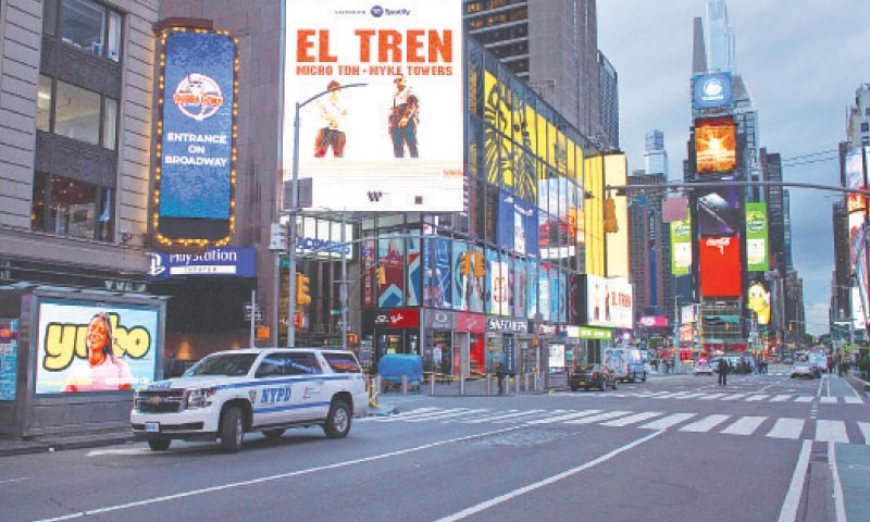 POLICE block a street after two women and a four-year-old girl were injured by gun fire at New York's Times Square.—AFP