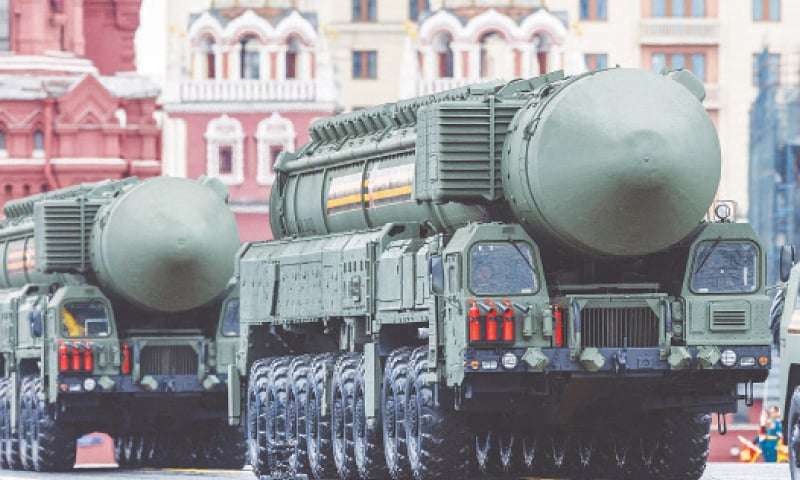 INTERCONTINENTAL ballistic missile systems move through Moscow's Red Square during the military parade.—AFP