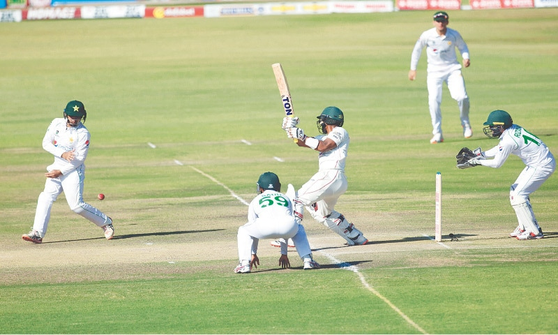 HARARE: Zimbabwe batsman Regis Chakabva drives during the second Test against Pakistan at Harare Sports Club on Sunday.—AP