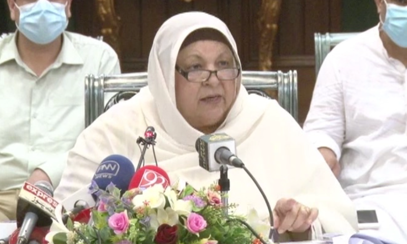 In this file photo, Punjab Health Minister Dr Yasmin Rashid addresses a press conference in Lahore. — DawnNewsTV/File