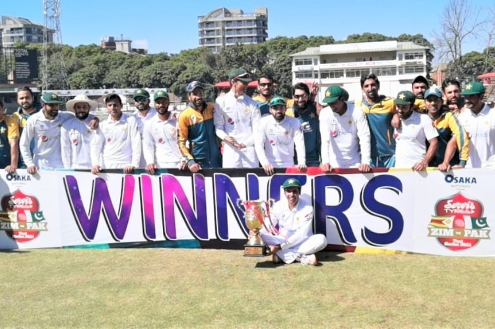 The Pakistan cricket team poses for a picture after beating Zimbabwe on the fourth day of the second Test at Harare Sports Club on Monday. — Photo courtesy PCB Twitter