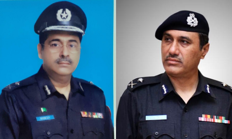This combination photo shows newly appointed Karachi police chief Imran Yaqoob Minhas (L) and former chief Ghulam Nabi Memon (R). — Imtiaz Ali/Twitter