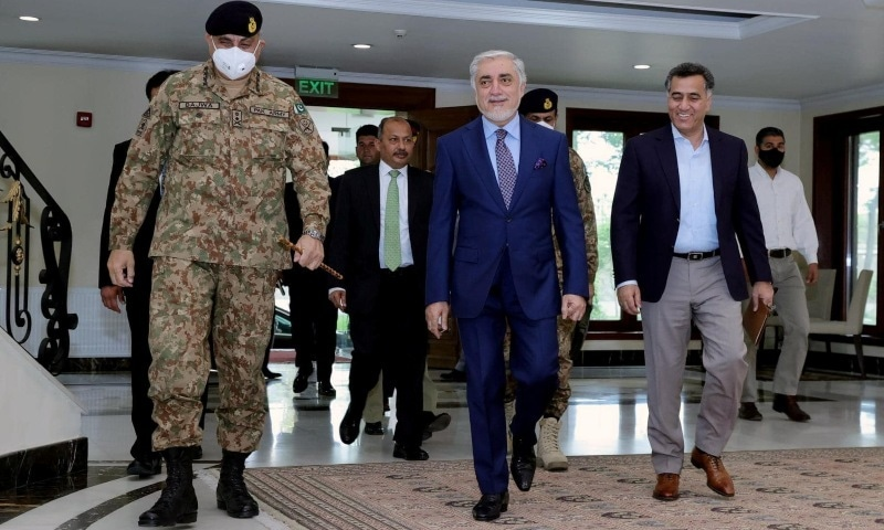 Chairman of the High Council for National Reconciliation Abdullah Abdullah walks with Army Chief Gen Qamar Javed Bajwa and DG ISI Lt Gen Faiz Hameed, in Kabul, Afghanistan, May 10, 2021. — Reuters