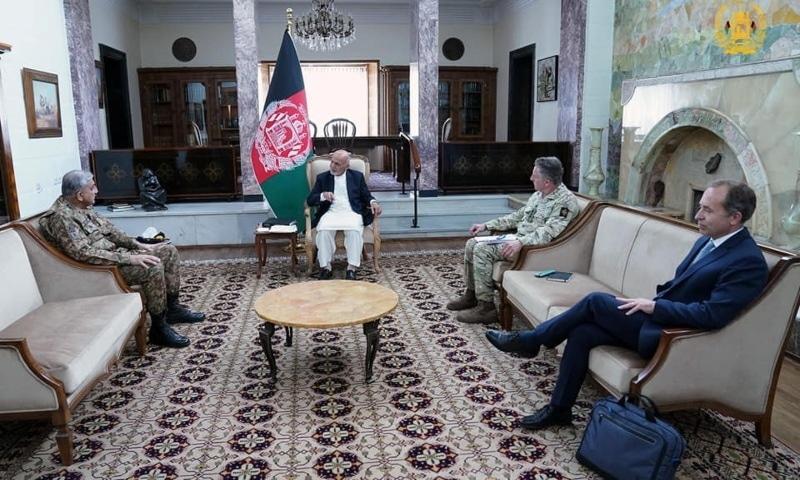 Afghanistan's President Ashraf Ghani meets with Army Chief Gen Qamar Javed Bajwa, in Kabul, Afghanistan May 10, 2021. — Presidential Palace/Handout via Reuters