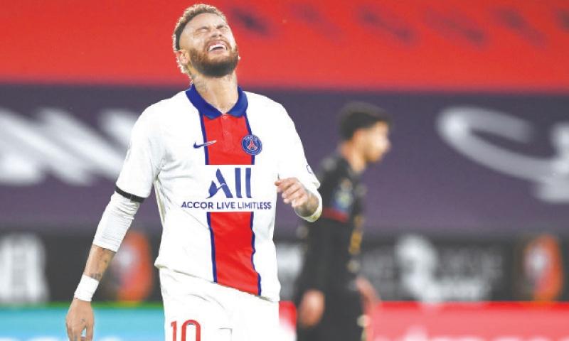RENNES: Paris St Germain's Neymar reacts during the Ligue 1 match against Stade Rennais at the Roazhon Park.—AFP