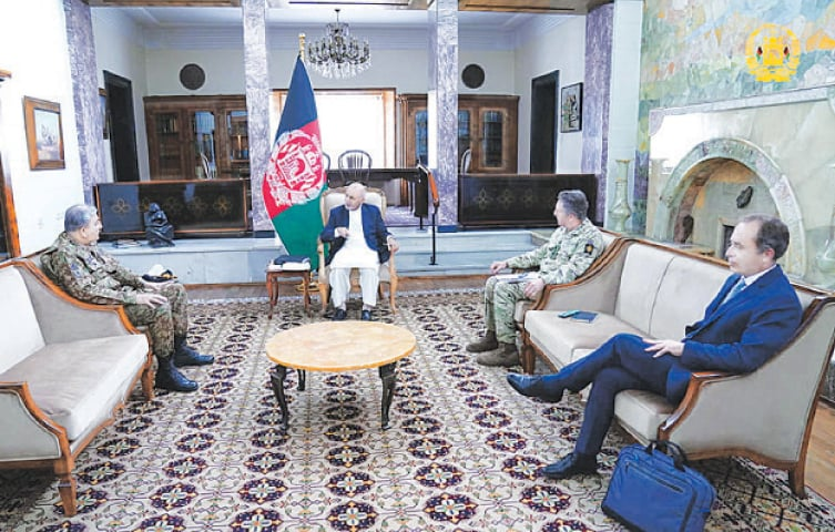 KABUL: Afghan President Ashraf Ghani meets Army Chief Gen Qamar Javed Bajwa on Monday.—Reuters
