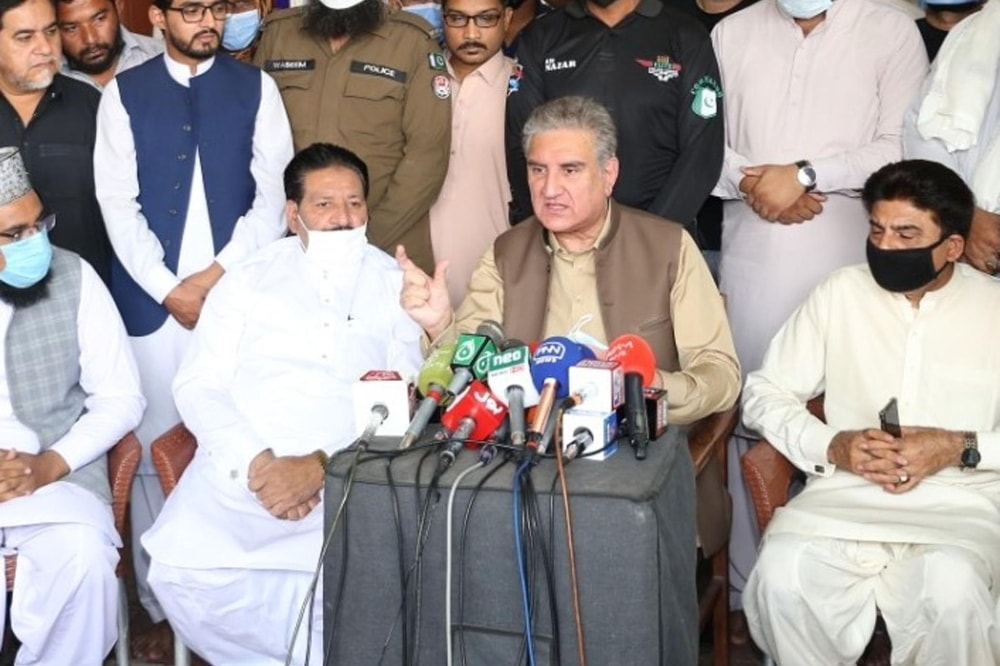 Foreign Minister Shah Mahmood Qureshi speaks to the media in Multan on Wednesday. — Photo courtesy PID