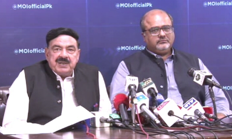 Interior Minister Sheikh Rashid and Adviser to the Prime Minister on Interior and Accountability Mirza Shahzad Akbar address a press conference in Islamabad on Wednesday. — DawnNewsTV