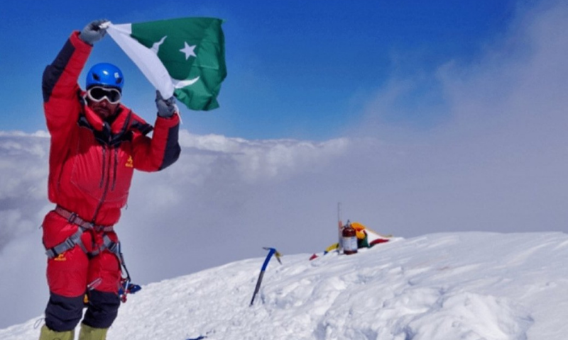 Pakistani mountaineer Sirbaz Khan reached the summit of Everest at 8,848.86 metres early on Wednesday morning. — Photo courtesy Alpine Club of Pakistan Facebook