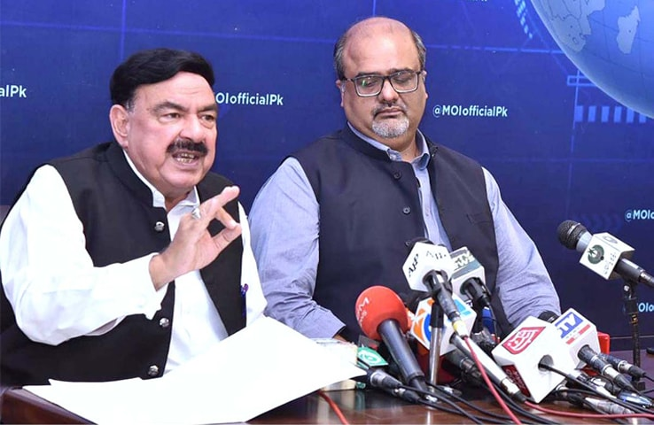 ISLAMABAD: Interior Minister Sheikh Rashid Ahmed and Adviser to the Prime Minister on Accountability Barrister Shahzad Akbar brief the media about the cabinet's sub-committee meeting on Wednesday.—APP
