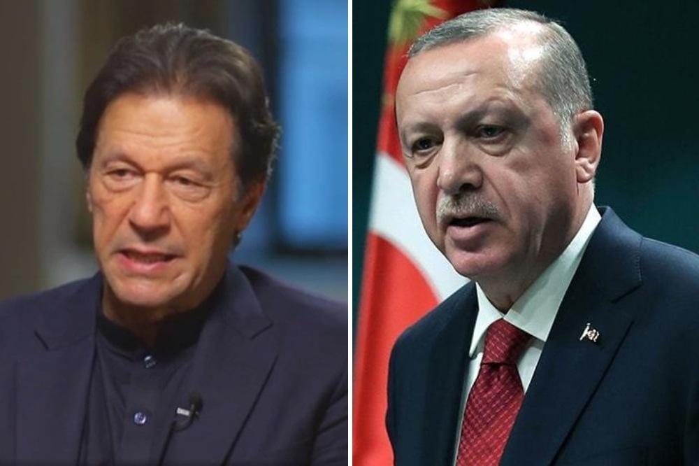 This file photo shows Prime Minister Imran Khan (left) and Turkish President Recep Tayyip Erdogan. — Photo courtesy AFP/CNN Screengrab