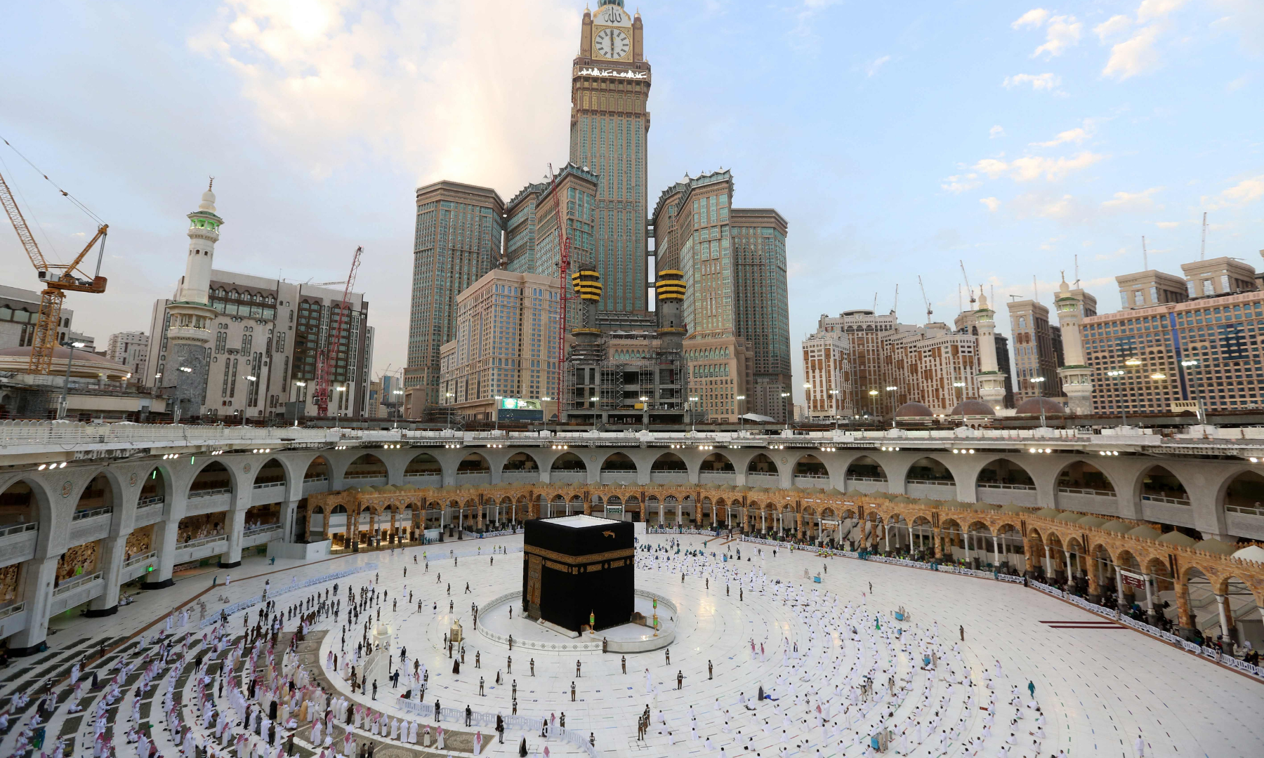 Muslim worshippers gather to pray around the Kaabah in Makkah to mark the end of the fasting month of Ramazan. — AFP