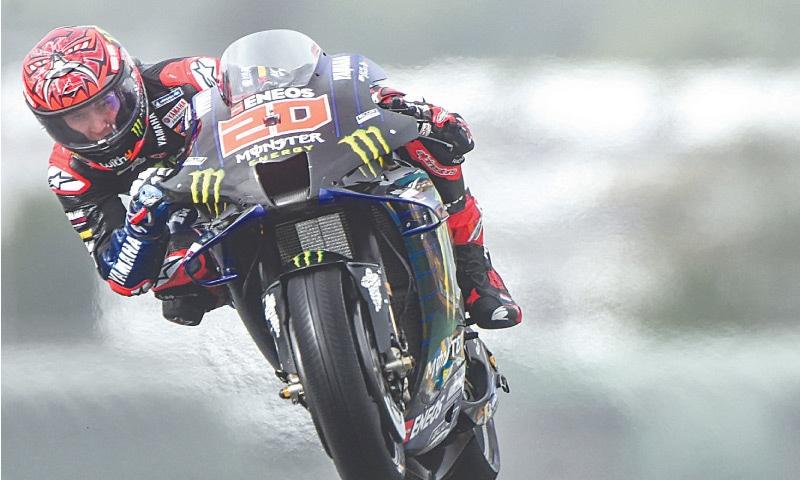 YAMAHA's Fabio Quartararo rides during the qualifying of the French Moto GP Grand Prix on Saturday.—AFP