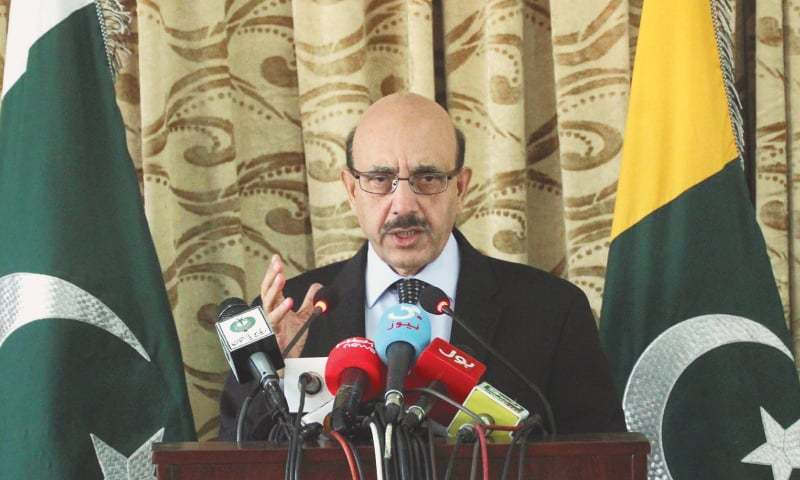 In this file photo, the President of Azad Jammu and Kashmir, Sardar Masood Khan, addresses a press conference at Kashmir House.—Online/File