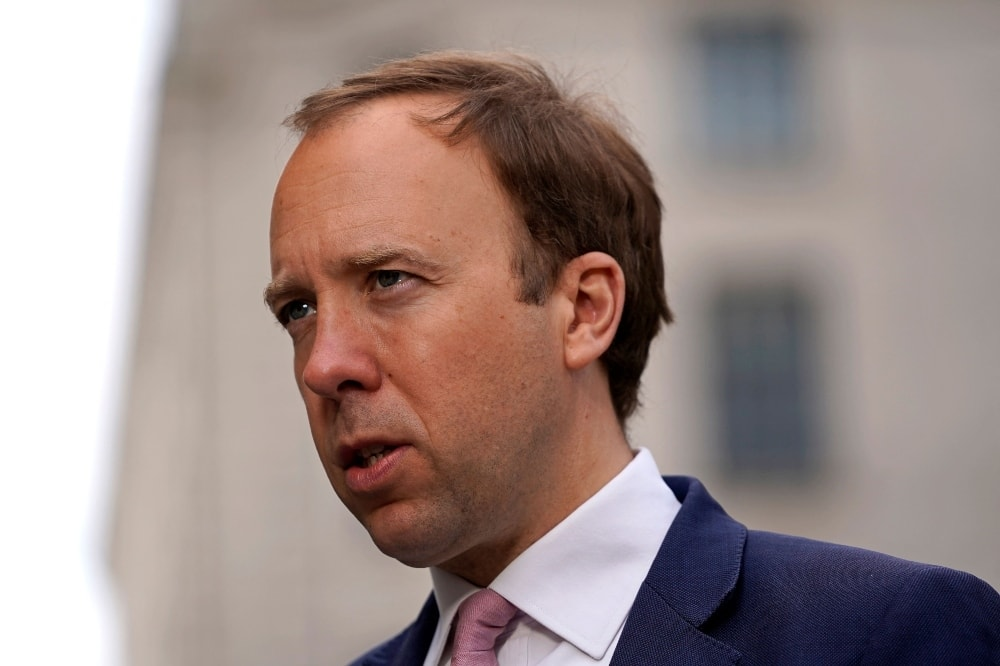 Britain's Health Secretary Matt Hancock gives a media interview as he arrives at the BBC in central London on May 16.  — AFP