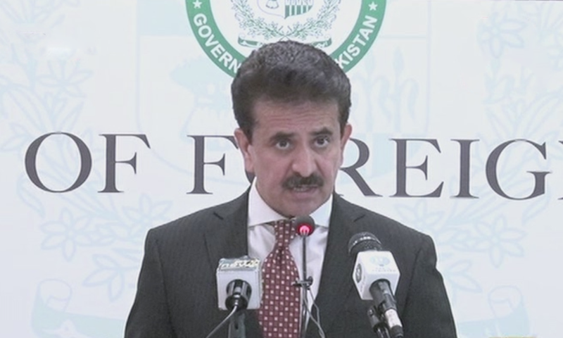 In this file photo, FO spokesperson Zahid Hafeez Chaudhri speaks to reporters during a press briefing. — DawnNewsTV/File