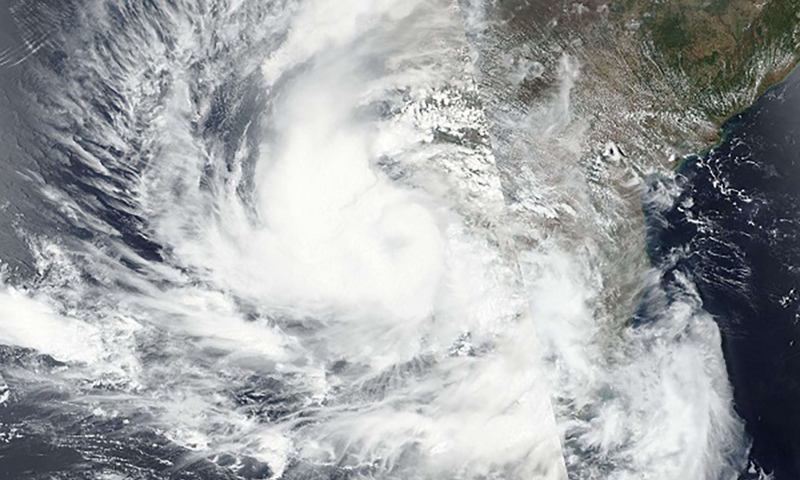This handout satellite image released by Nasa on Saturday shows the path of Cyclone Tauktae. — AFP
