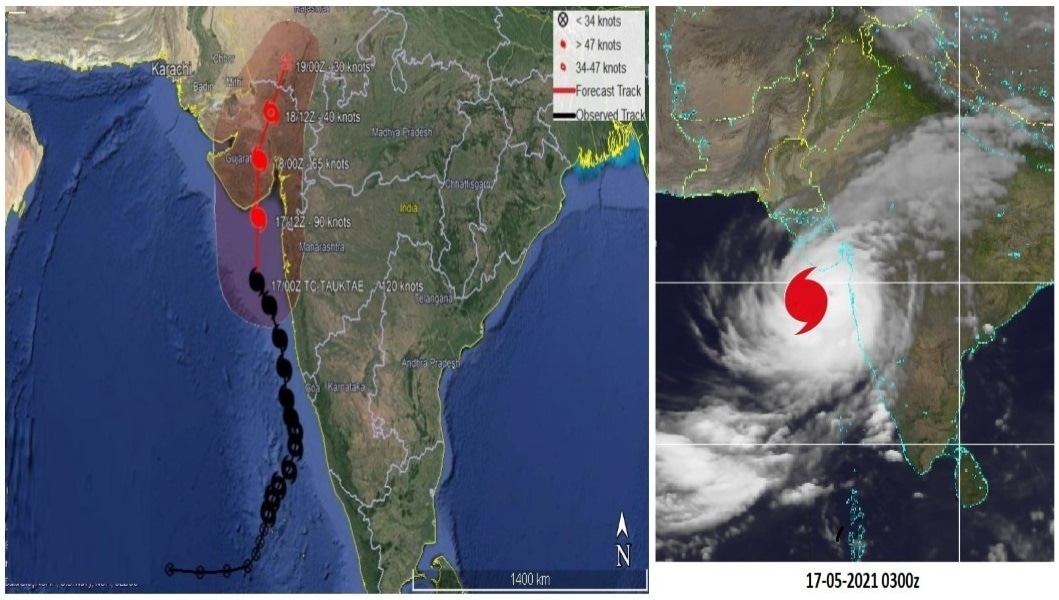 A screengrab from the PMD's website showing the trajectory of the cyclonic storm, Tauktae. — Photo courtesy Pakistan Meteorological Department